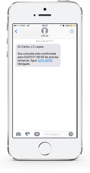 Confirmação de consultas por Whatsapp ou SMS