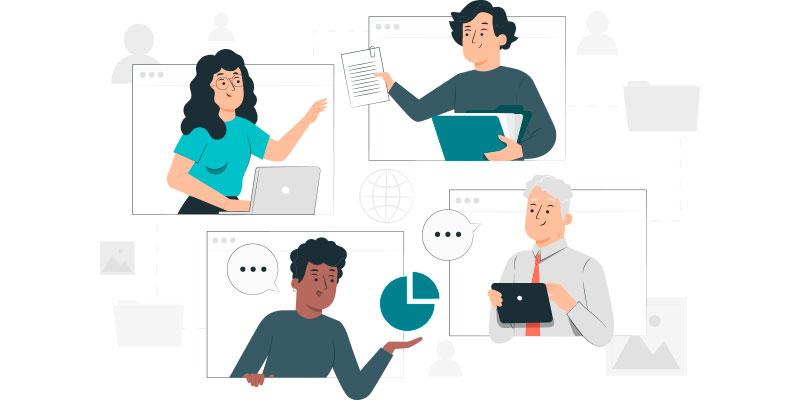 equipe conversando entre si usando o software de gestao medico